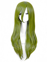 Fashionable Green Color Long Length Straight Cosplay Synthetic Wigs