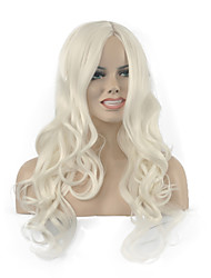 Natural long White Color Popular Wave Synthetic Wig For Woman