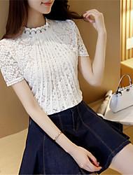 Damen Solide Einfach Ausgehen T-shirt,Rundhalsausschnitt Kurzarm Weiß / Schwarz Polyester Dünn