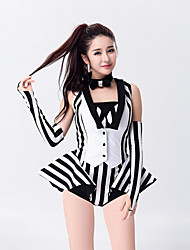 Jazz Leotards Outfits Women's Performance Polyester Sexy Black-White Stripe Magician Dance Costumes