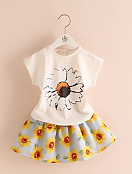 2016 Fashion Toddler Korean Baby Girls Summer Clothing Sets Bow Sunflower Girls Summer Clothes Set Kids Casual Set
