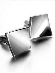 Men's Fashion Square Silver Alloy French Shirt Cufflinks (1-Pair)
