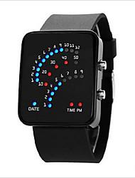 Мужской Женские Для пары Модные часы LED Сенсорный дисплей Цифровой Pезина Группа Черный Белый Синий Фиолетовый