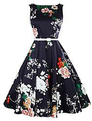 Feminino Evasê Vestido,Casual estilo antigo Floral Decote Redondo Altura dos Joelhos Sem Manga Azul Algodão Verão Cintura Média