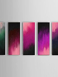 Hand-painted Abstract Purple Oil Painting Restaurant 5 Piece/Set Wall Art Decor with Stretched Frame