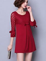 Feminino Solto Vestido,Informal / Tamanhos Grandes Moda de Rua Sólido Decote Redondo Acima do Joelho Manga ¾ Rosa / Vermelho / Preto