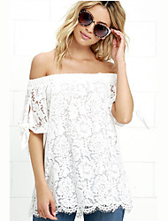 Women's Casual/Daily Sexy / Street chic Summer Blouse,Embroidered Boat Neck ½ Length Sleeve White Polyester Thin