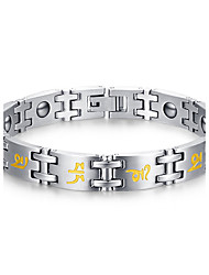 Men's Jewelry Health Care Print Silver Titanium Steel Magnetic Therapy Bracelet