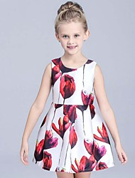 Girl's Floral Dress,Rayon Summer Multi-color