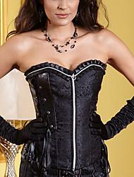 YUIYE® Women Sexy Lingerie Waist Training Corset Bustier Tops Shapewear Waist Cincher Black Zip Overbust Corset