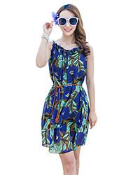 2016 Summer Women's Bohemian Beach Flower Print Dress