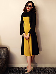 VERRAGEE® Women's Stand Long Sleeve Knee-length Dress-L124