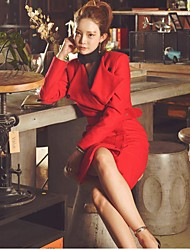Women's Going out Simple Pea Coats,Solid Notch Lapel Long Sleeve Red / Black Wool / Polyester