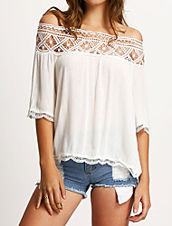 Casual/Daily Sexy Street chic Summer Blouse,Patchwork Boat Neck Polyester Thin