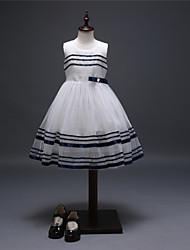 Vestido Chica de-Noche-Un Color-Algodón / Poliéster-Verano-Blanco