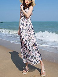 Women's Beach Boho Loose Dress,Floral Strap Maxi Sleeveless White Polyester Summer