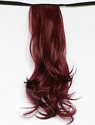 la lumière d'onde de l'eau rouge brun synthétique du type bandage queue de cheval perruque de cheveux (bug de couleur)