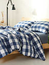2016 new plaid Washed Cotton Bedding Sets Queen King Size Bedlinens 4pcs Duvet Cover Set