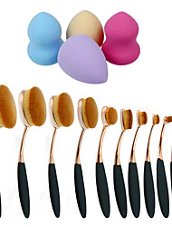 10pcs/Set Toothbrush Eyebrow Foundation Eyeliner Lip Oval Brushes+4pcs Makeup Foundation Puff Shape Sponges