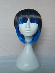New Stylish Capless Blue Mix Black Color  Synthetic Wig Long Straight Hair Wigs  Bob Style