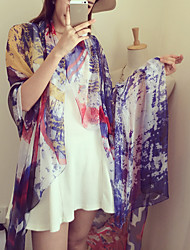 Star Chiffon Long Section Of Multicolored Graffiti Color Silk Scarf Shawl