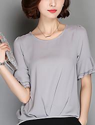 Mulheres Blusa Happy-Hour Plus Sizes / Simples / Moda de RuaSólido Vermelho / Branco / Preto / Cinza / Laranja Poliéster Decote Redondo