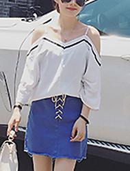 Women's Striped White / Black Blouse,Strap Sleeveless