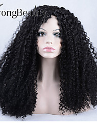 Top Quality Fiber kinky Curly Wigs Synthetic Lace Front Wigs 170% Density Black Color Heat Resistant Synthetic Hair Wigs