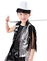 Jazz Outfits Kid's Performance Plastic Sequin 3 Pieces Sleeveless Natural Tops Pants Hats