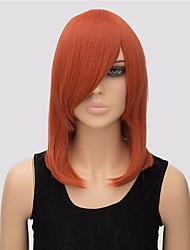 sem tampa cor de laranja comprimento médio de alta qualidade peruca sintética reta naturais