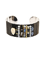 Fashion Women Vintage Beads Decorated Adjustable Cuff