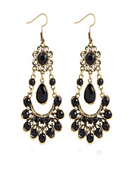 Metal Bohemian Black Acrylic Flowers Peacock Simple Earrings