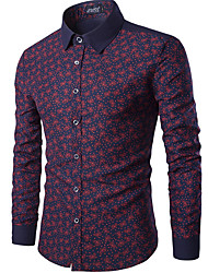 2016 New Style Men's Summer Fashion Multi Colors Long Sleeve Floral Printed Cotton T Shirt