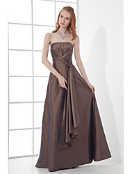 A-Line Strapless Floor Length Taffeta Formal Evening Dress with Bow(s) Pleats