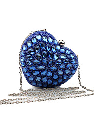 L.WEST Women's Handmade The Heart-shaped Luxury Glass Drill Evening Bag