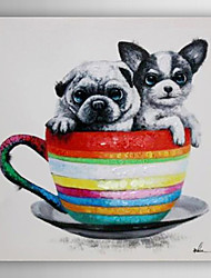 Hand Painted Oil Painting Animal Two Dogs Sitting In The Cup with Stretched Frame 7 Wall Arts®