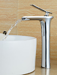 Personalized Contemporary Waterfall Single Handle Chromed Finish Bathroom Sink Faucet