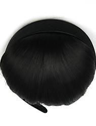 Kinky Curly Black Retardant Headband Human Hair Weaves Chignons 4