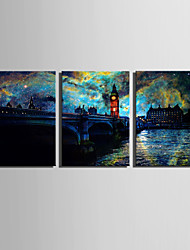 E-HOME® Stretched LED Canvas Print Art  European Urban Landscape LED Flashing Optical Fiber Print Set of 3