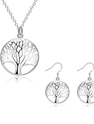 Women's Costume Jewelry Cubic Zirconia Copper Silver Plated Tree of Life 1 Necklace 1 Pair of Earrings For Party Daily Wedding Gifts