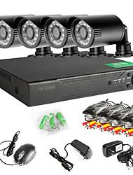 4ch 960H Сеть Dvr 4шт 1000tvl ИК открытый камеры видеонаблюдения системы безопасности