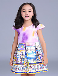 Girl's Purple Dress,Floral Cotton Summer / Spring