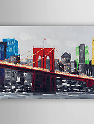 Hand Painted Oil Painting Landscape The View of The Bridge and City with Stretched Frame 7 Wall Arts®