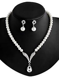 Damen Halskette / Ohrringe Modeschmuck Künstliche Perle Strass versilbert Aleación Halsketten Ohrringe Für Hochzeit Party Alltag