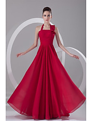 Formal Evening Dress A-line Halter Sweep / Brush Train Chiffon with Pleats