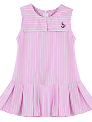 Girl's Striped Dress,Cotton Summer Blue / Pink