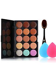 15 couleurs Palette correctrice la brosse à dents de maquillage et petites éponges taille de maquillage