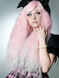sem tampa alta cor-de-rosa de qualidade de onda natural, perucas sintéticas