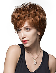 New Stylish Short Wavy Fluffy Wig Remy Human Hair Hand Tied -Top Emmor Wigs for Woman