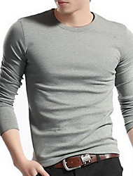 New Arrival Men T-Shirts Long Sleeve Round Collar Cotton Slim Solid Color Men T-Shirts
